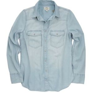 Faded Blue Pearl Snap Button Denim Chambray Shirt